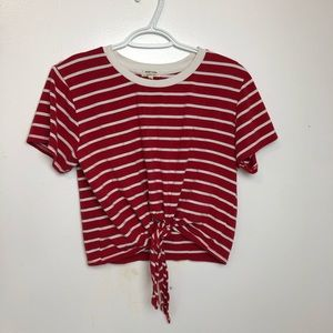 Heart & Hips Striped Cropped Tie Top